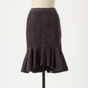 Anthropologie Gray Corduroy FitFlare Trumpet Skirt